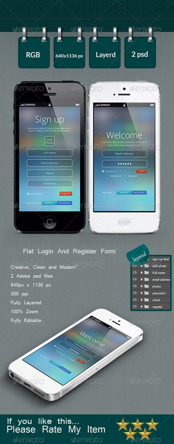 Flat Login And Register Form - User Interfaces Web Elements