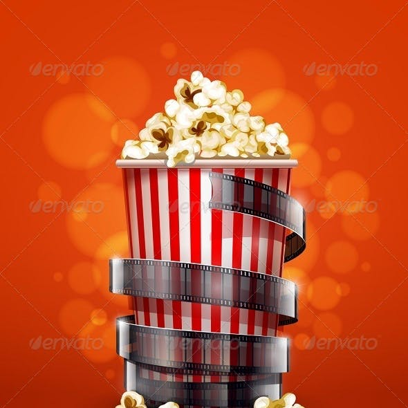 Cinema Concept with Paper Bucket with Popcorn