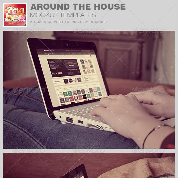 Around the House Laptop Mockup Template