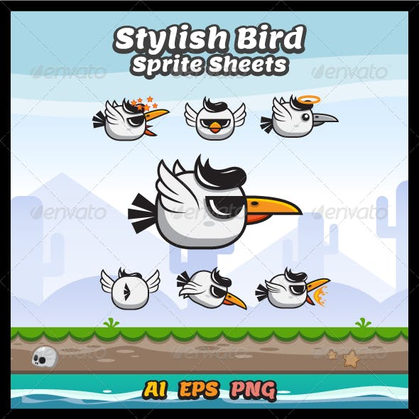 Stylish Bird Game Character Sprite Sheets