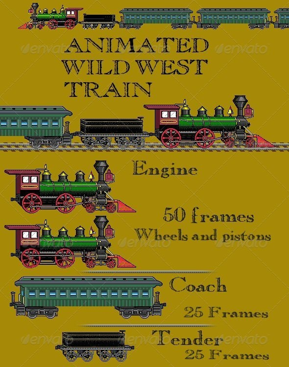 Animated Wildwest Pixel Train - Objects Illustrations