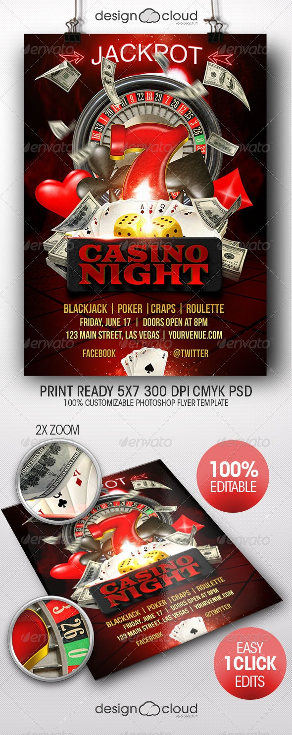 Casino Night Flyer Template - Miscellaneous Events
