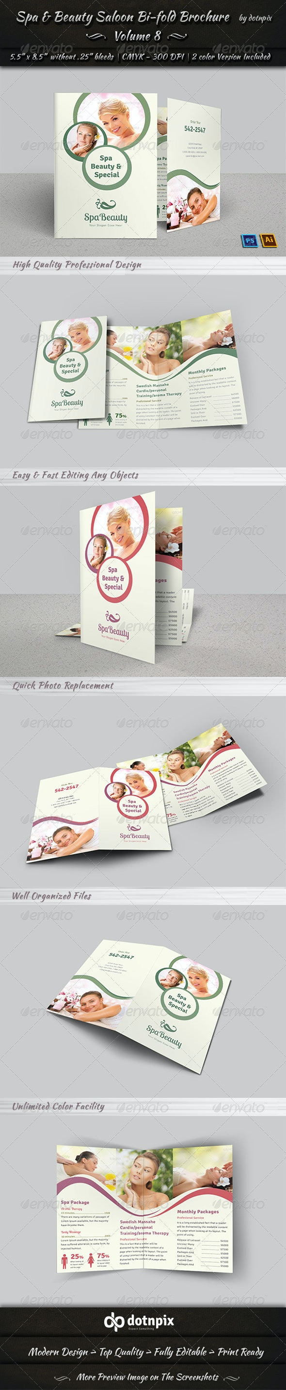 Spa & Beauty Saloon Bi-fold Brochure   Volume 8 - Corporate Brochures