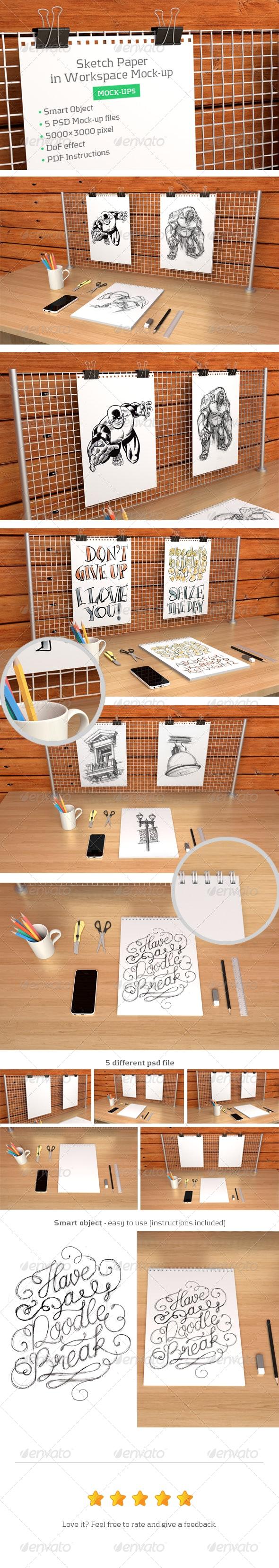 Sketch Paper in Workspace Mock-up - Print Product Mock-Ups