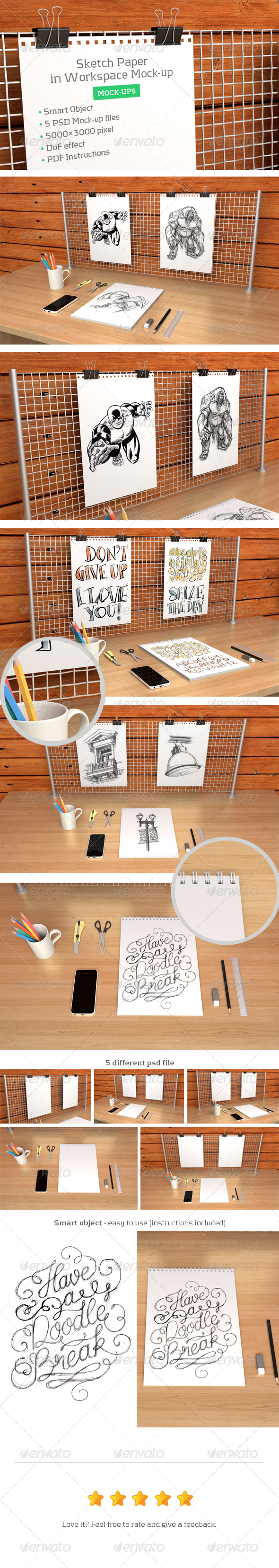 Sketch Paper in Workspace Mock-up - Print Product Mock-Ups