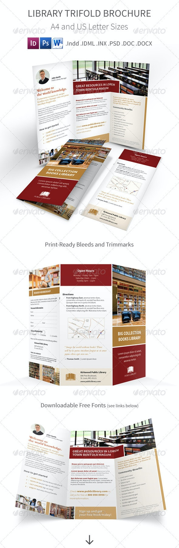 Library Trifold Brochure - Informational Brochures