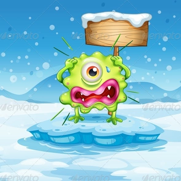 Scared monster and empty sign in frozen land