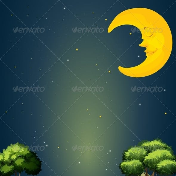 Landscape with sleeping moon