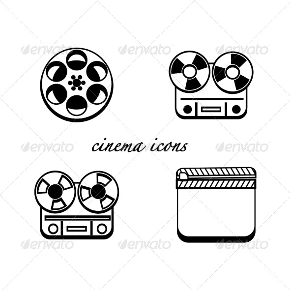 Black and White Minimalistic Cinema Icons - Media Technology