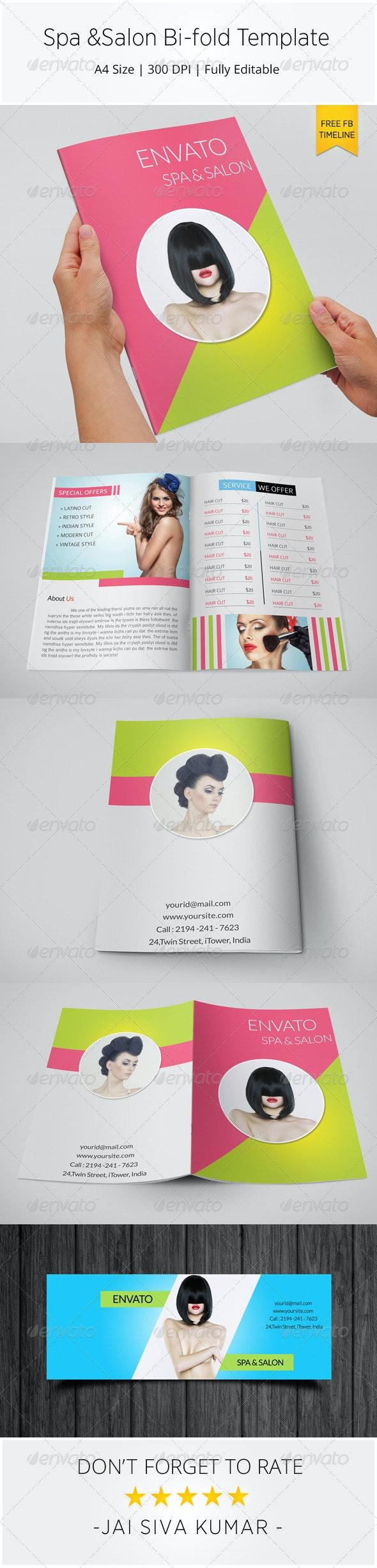 Spa & Salon Bi-fold Brochure Template - Catalogs Brochures