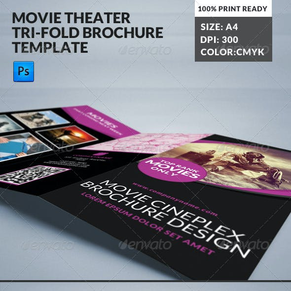 Movie Theater Cinema Hall Tri-Fold Brochure
