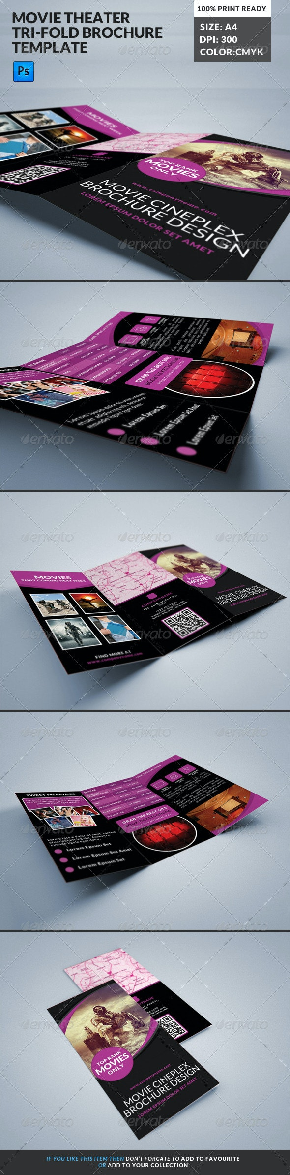 Movie Theater Cinema Hall Tri-Fold Brochure - Corporate Brochures