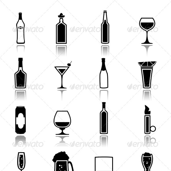 Alcohol Icons Black