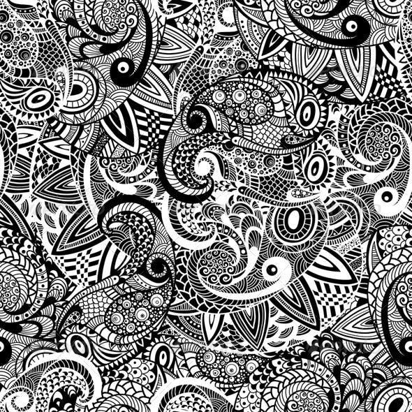 Seamless Paisley Doodle Pattern