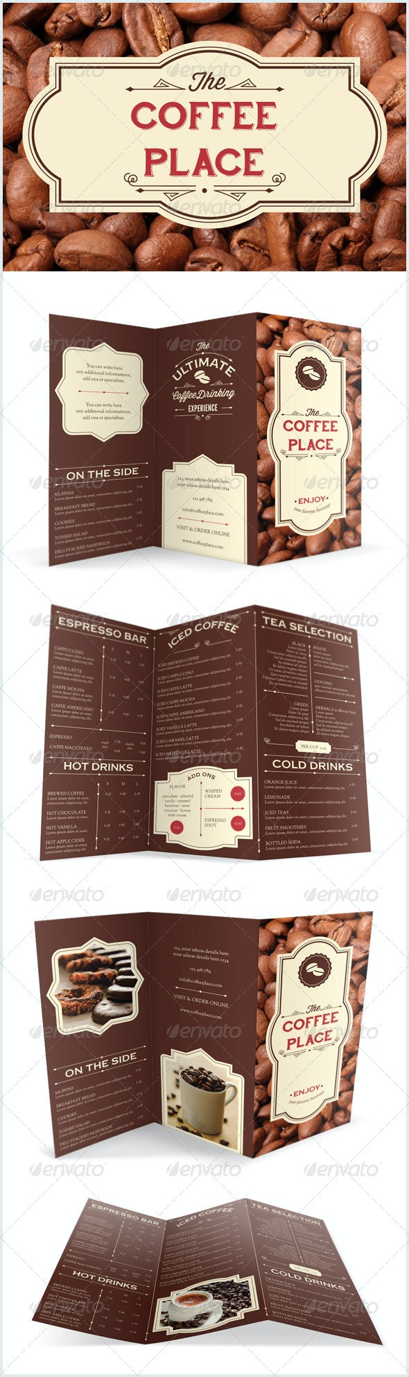 Coffee Place Brochure - Menu - Food Menus Print Templates