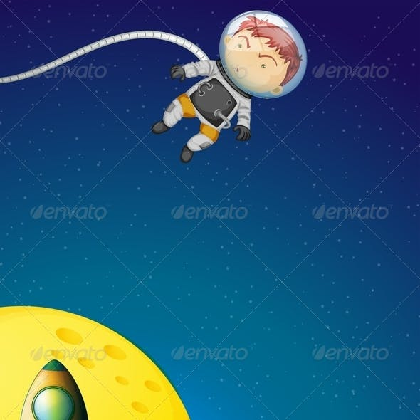 Astronaut and Robot in Outerspace