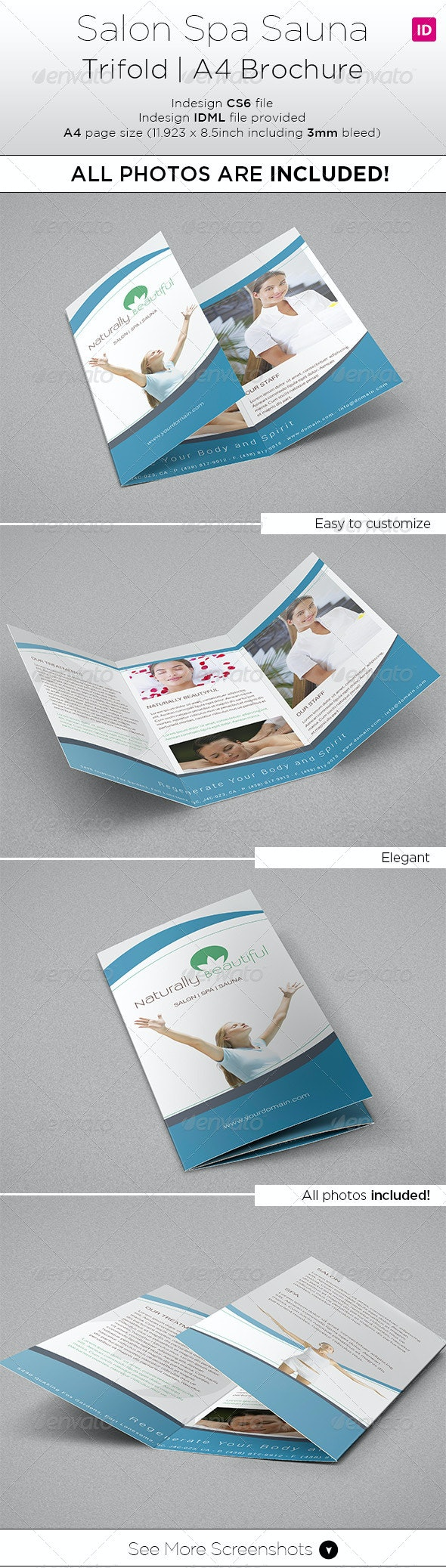 Salon Spa Trifold A4 Brochure - All Photo Included - Informational Brochures