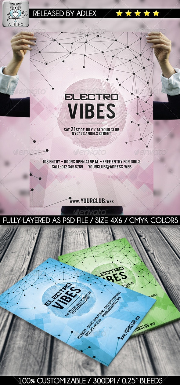 Electro Vibes Geometric Flyer - Clubs & Parties Events