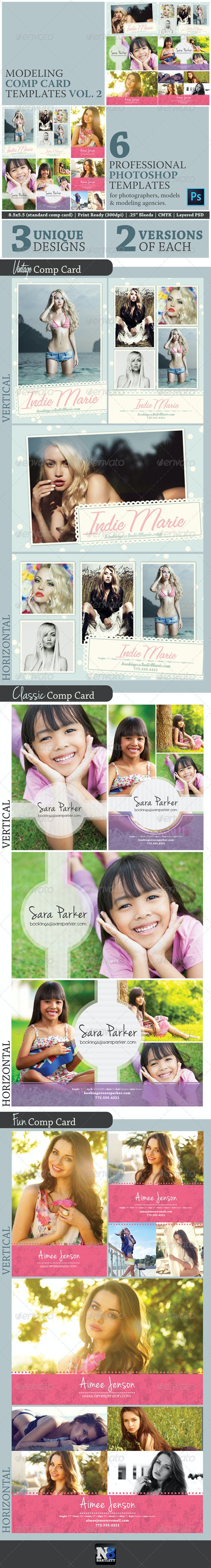 Model Comp Card Template Kit Vol. 2 - Miscellaneous Print Templates
