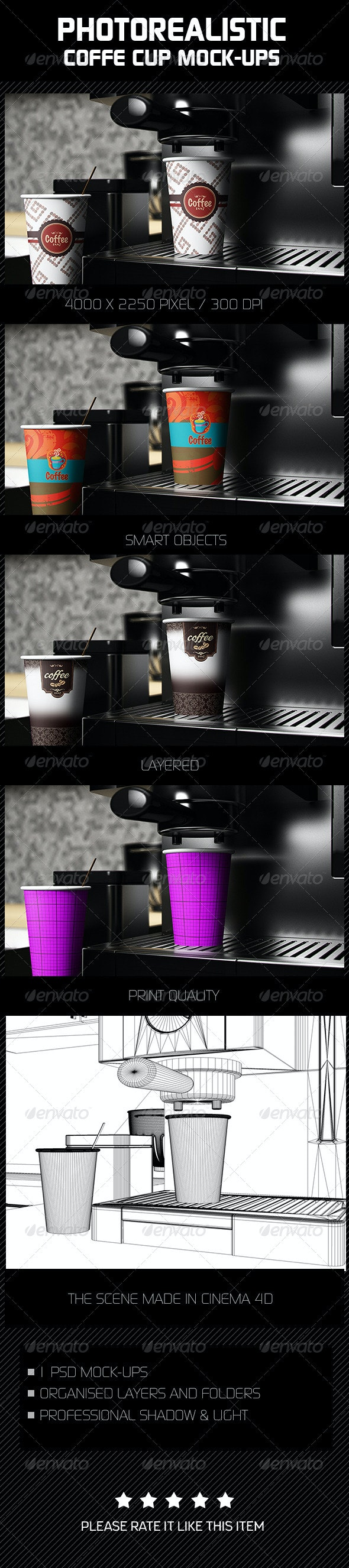 Photorealistic Coffee Cup Mock-Ups - Food and Drink Packaging