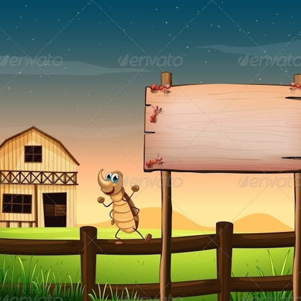 Empty Signboard with Bugs and Farm