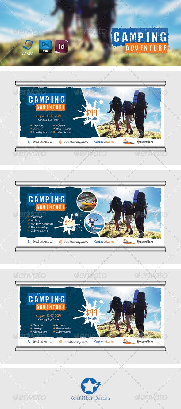 Camping Adventure Billboard Templates - Signage Print Templates