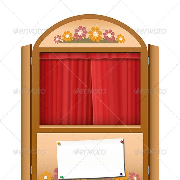 Punch and Judy Booth Brown Closed Curtain