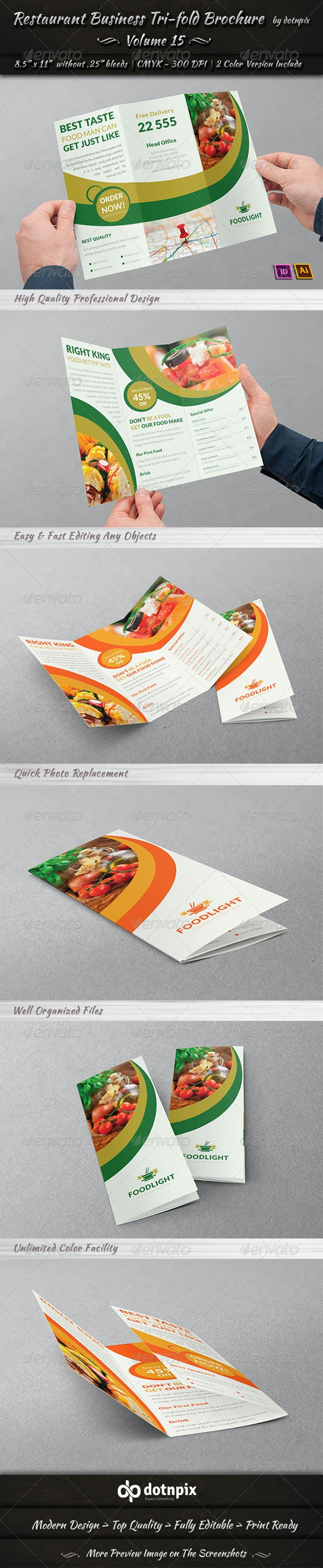 Restaurant Business Tri-Fold Brochure   Volume 15 - Corporate Brochures