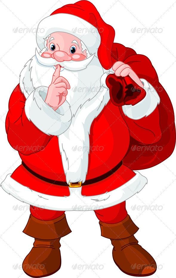 Santa Claus gesturing shush - Christmas Seasons/Holidays