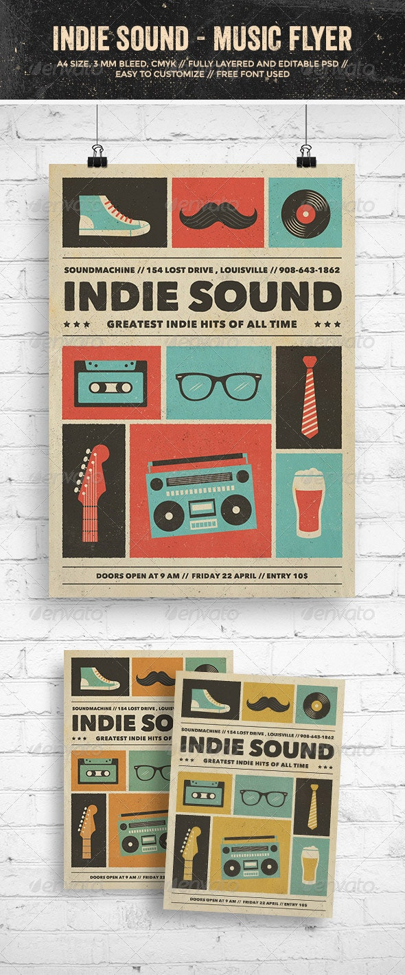 Indie Sound - Music Flyer/Poster - Clubs & Parties Events
