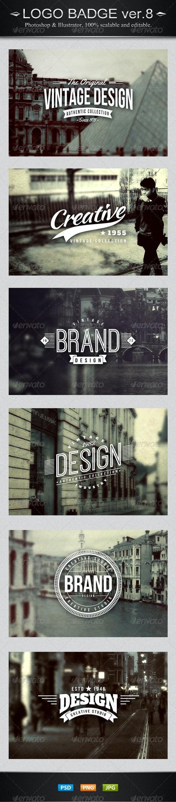 6 Vintage Logo Badges Ver.8 - Badges & Stickers Web Elements