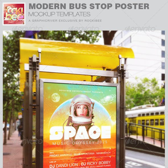 Modern Bus Stop Poster Mockup Templates
