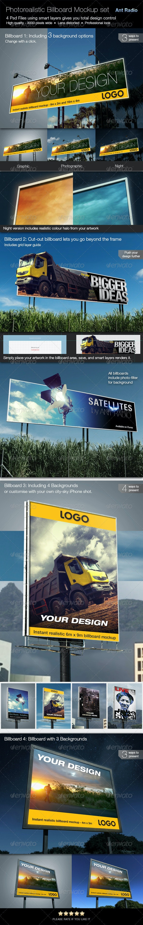 Set of Photorealistic Billboard Mockups - Signage Print