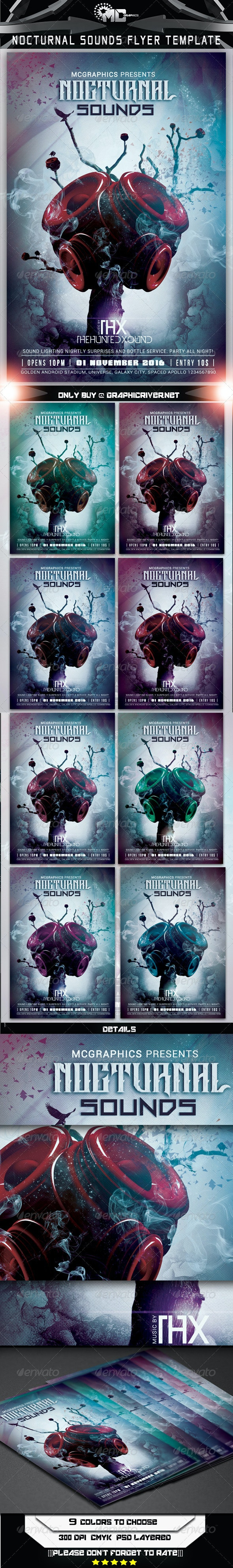 Nocturnal Sounds Flyer Template - Flyers Print Templates