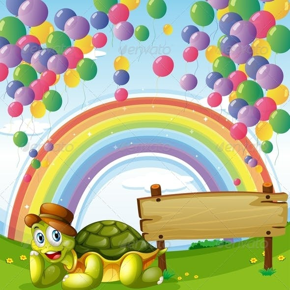 Turtle Beside the Empty Board with a Rainbow