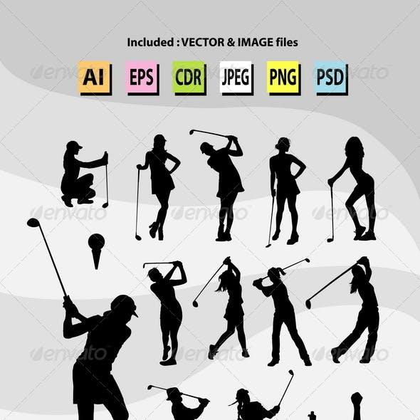 Female Golfer Silhouettes