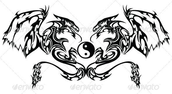 Tribal Twin Dragon Tattoo