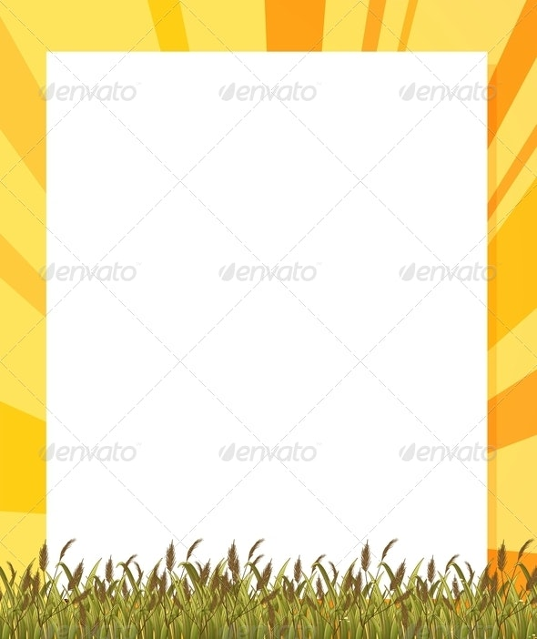 Empty Paper Template with Plants at the Bottom - Decorative Vectors