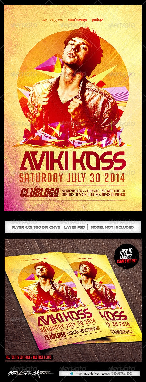 House Music DJ Flyer Template PSD - Clubs & Parties Events