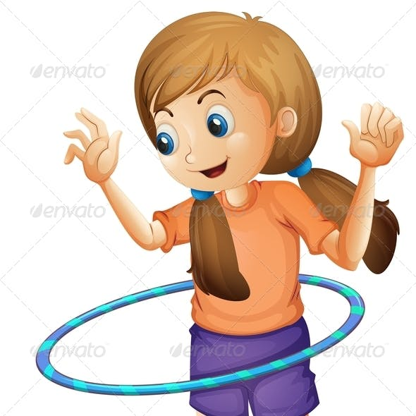 Teenager Playing with a Hulahoop