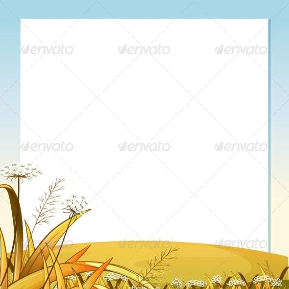 An Empty Template with a Hilltop and Plants