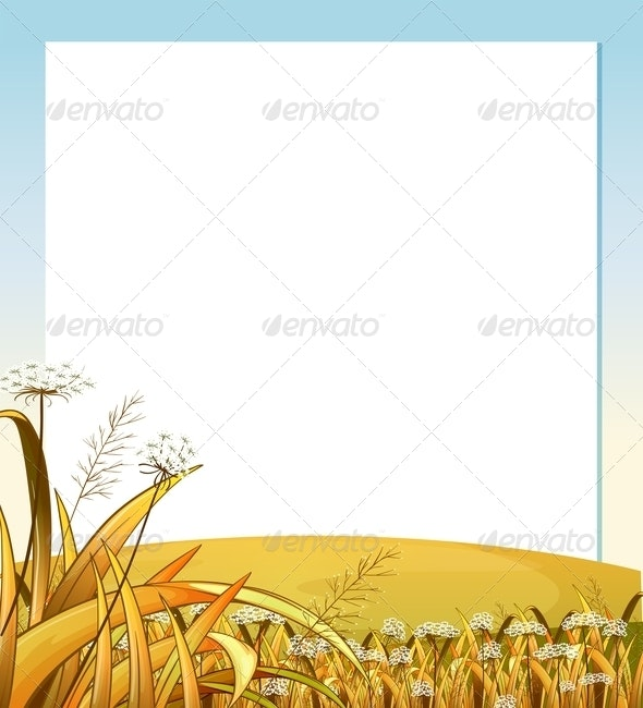 An Empty Template with a Hilltop and Plants - Borders Decorative