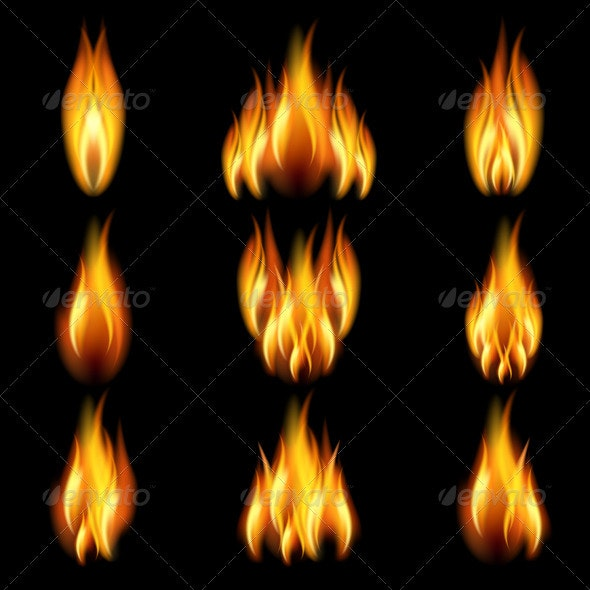 Set of flame - Backgrounds Decorative