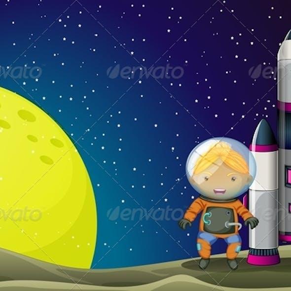 Astronaut Standing Beside a Rocket