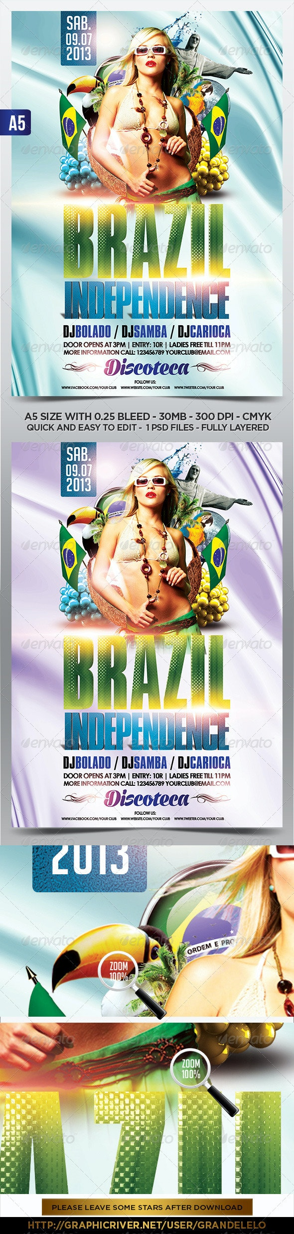 Brazil Independence Flyer Template - Holidays Events