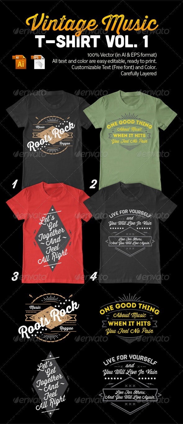 Vintage Music T-Shirt Vol. 1
