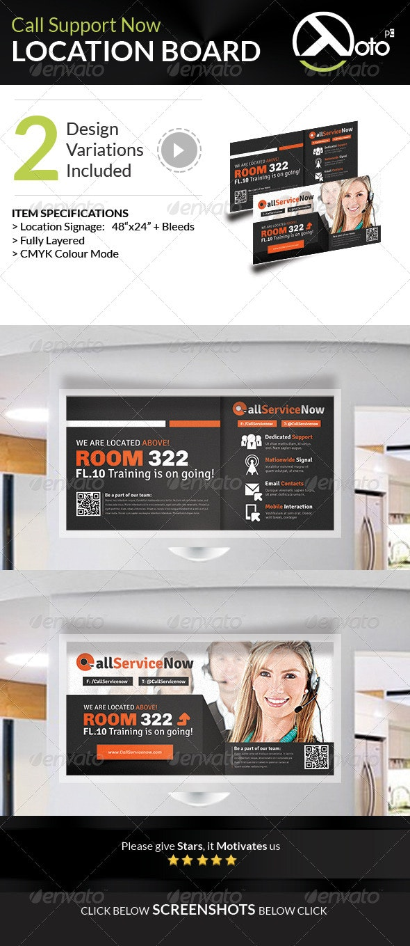 Call Support Call Center Solutions Location Board - Signage Print Templates