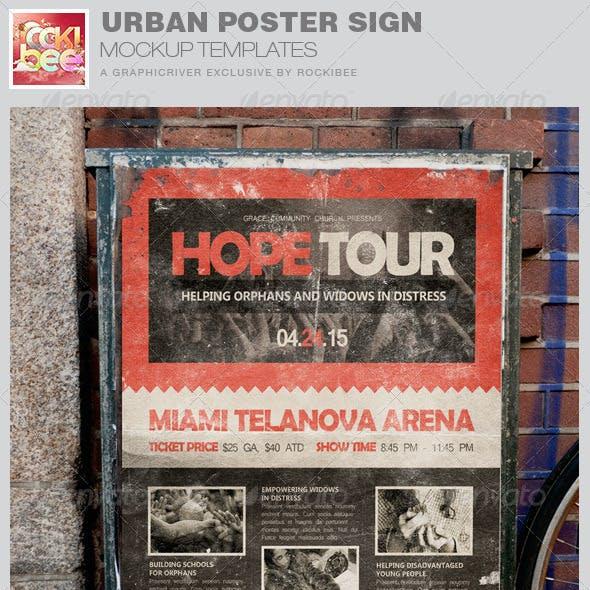 Urban Poster Sign Mockup Templates