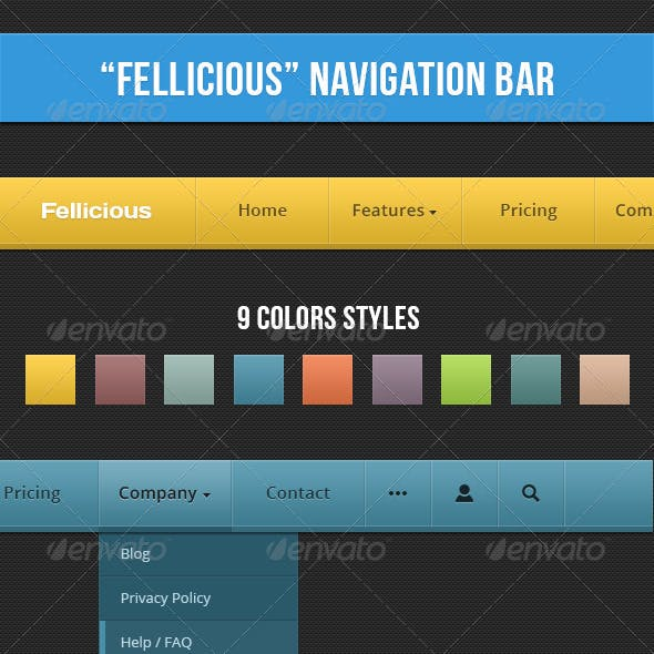 Stylish Navigation Bar (9 Colors)