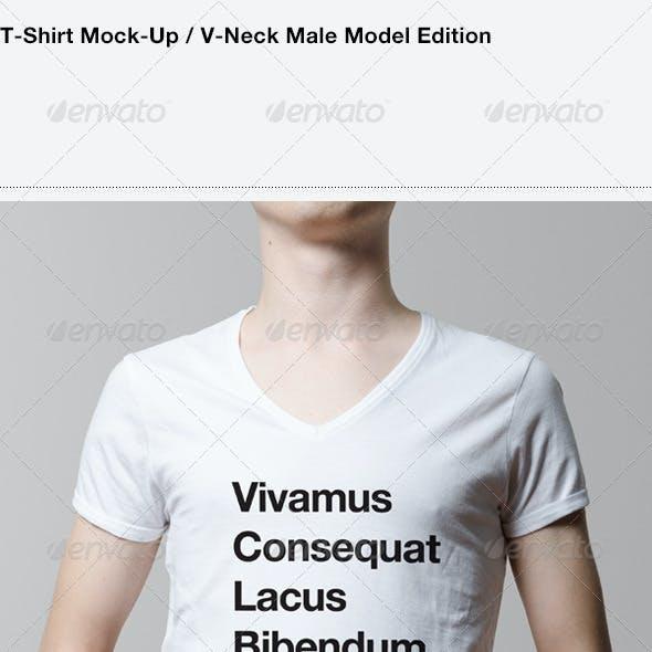 T-Shirt Mock-Up / V-Neck Male Model Edition